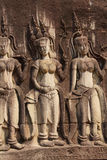 Apsara dancers decorate Angkor Wat Royalty Free Stock Photos