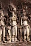 Apsara dancers decorate Angkor Wat Stock Image