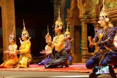 Apsara dancers kneel Royalty Free Stock Photo