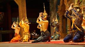 Apsara dancers kneel Stock Photography