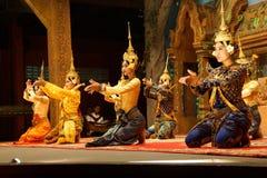 Apsara dancers kneel Stock Photos