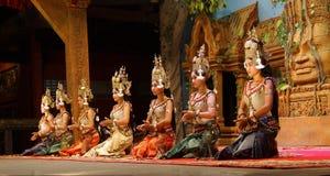 Apsara dancers kneel Royalty Free Stock Image