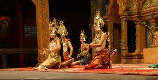 Apsara dancers kneel Royalty Free Stock Images