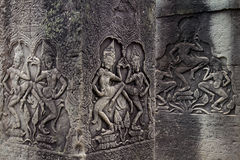 Apsara dancers on pillars at the Bayon temple, Angkor Wat, Cambodia Royalty Free Stock Photo