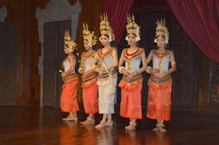 Apsara dancers. SIEM REAP CAMBODIA MARCH 26: Apsara dancers on march 26 2013 in Siem reap Cambodia. Robam Tep Apsara is the title of a Khmer classical dance Stock Photography