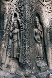 Apsara Dancers stone carving in Angkor temple, Siem Reap, Cambodia Royalty Free Stock Images