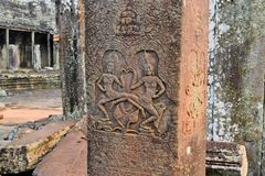 Apsara Dancers Stone Carving at Angkor Wat Stock Image