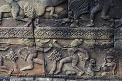 Apsara Dancers Stone Carving Royalty Free Stock Image