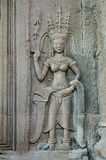 Apsara Dancers Stone Carving, in Cambodia Royalty Free Stock Image
