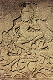 Apsara dancers wall carving, Bayon temple, Angkor area Royalty Free Stock Photo