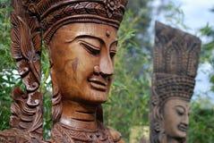 Apsara figures in garden. Apsara figures, celestial dancers decorated in garden Royalty Free Stock Image