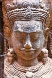 Apsara Gesicht schnitzte auf Stein, Angkor Wat, Kambodscha Lizenzfreies Stockfoto