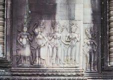 Apsara na ścianie w Angkor Wat, Siem Przeprowadza żniwa, Kambodża Zdjęcie Royalty Free
