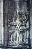 Apsara på väggen av Angkor Wat Arkivfoto