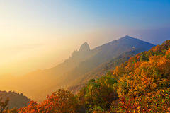 The Apsara peak and autumn mountain sunrise Stock Images