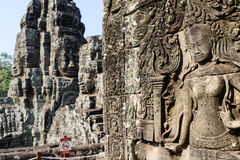 Apsara relief status in the angkor thom temple Royalty Free Stock Images