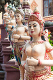 Apsara sculptures at Cambodian temple Stock Image