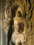 Apsara smile in Ta Prohm, Siem Reap Royalty Free Stock Photos