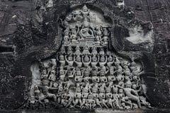 Apsara sned på väggen av Angkor Wat, Cambodja Arkivbild