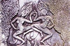 Apsara som snider i den Bayon templet, Angkor, Cambodja Royaltyfria Foton