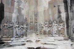Apsara som snider på Angkor Wat Siem Reap Province Cambodia Arkivbilder