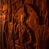 Apsara, stone carving on the wall of Angkor Wat temple Royalty Free Stock Image