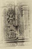 Apsara-Tänzer auf Wänden Banteay Srei Stockbilder