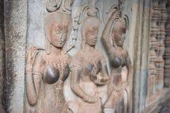 Apsara tancerz na ścianie w Angkor Wat, Siem Przeprowadza żniwa, Kambodża Fotografia Royalty Free