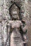 Apsara tancerz na ścianie w Angkor Wat, Siem Przeprowadza żniwa, Kambodża Obrazy Stock