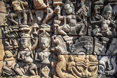 Apsara on the wall of Angkor Wat Stock Photography