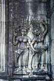 Apsara on the wall of Angkor Wat Stock Photo