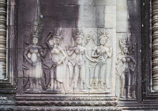 Apsara on the wall in Angkor Wat, Siem Reap, Cambodia Royalty Free Stock Photo