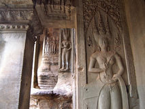 Apsara on the wall of Angkor Wat in Siem Reap, Cambodia. Royalty Free Stock Photography