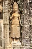 Apsara on a Wall of Bayon Temple in Cambodia royalty free stock photos