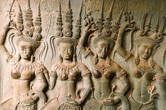 Apsara. On the walls of an ancient Angkor Royalty Free Stock Photos