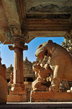 Apsara worshipping lion, Khajuraho, India, UNESCO heritage site Stock Images