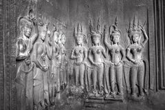 Apsaras - οι πέτρινες γλυπτικές σε Angkor Wat, Siem συγκεντρώνουν, η Καμπότζη ήταν Στοκ Εικόνες