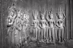 Apsaras - каменное резное изображение в Angkor Wat, Siem Reap, Камбодже было Стоковое Фото