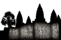 Apsaras - каменное резное изображение в Angkor Wat, Siem Reap, Камбодже Стоковые Фотографии RF