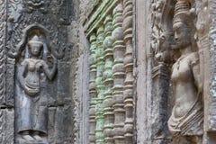 Apsaras al tempio antico nell'area di Angkor immagini stock libere da diritti