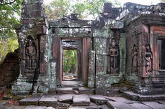 Apsaras  at the bas-relief of Banteay Kdei Temple in Cambodia. Royalty Free Stock Photography