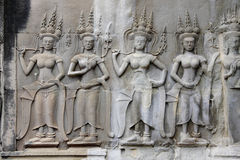 Apsaras - khmer stone carving in Angkor Wat Stock Photos
