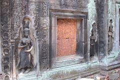 Apsaras op de muur van de tempel van Ta Prom, Angkor, Kambodja stock fotografie