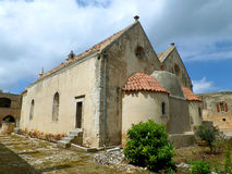 Apse της ενετικής μπαρόκ εκκλησίας στο μοναστήρι Arkadi, Rethymno, νησί της Κρήτης Στοκ Φωτογραφία