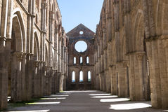 Apse in the Abbey of San Galgano, Tuscany. The Abbey of San Galgano, founded by Cistercian monks. Dedicated to St. Galganus (d.1181), a hermit who lived on the royalty free stock image