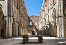 Apse in the Abbey of San Galgano, Tuscany. The Abbey of San Galgano, founded by Cistercian monks. Dedicated to St. Galganus (d.1181), a hermit who lived on the royalty free stock photography