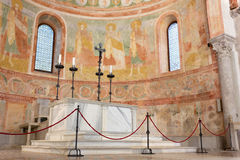 Apse and Altar in the Basilica of Aquileia Stock Photos