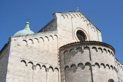 Apse of Romanic church in Ancona, Marche, Italy. Apse and back side with bronze dome of Romanic church in Ancona downtown, Italy Royalty Free Stock Photos