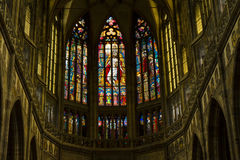 Apse Stained Glass Window, St. Vitus Cathedral, Prague, Czech Republic Stock Photo