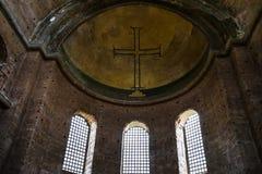 Apsyda z krzyżem w antycznym Hagia Irene kościół zdjęcie stock